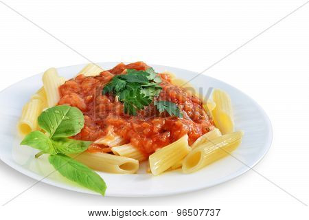 Tomato Sauce With Penne Pasta Isolated