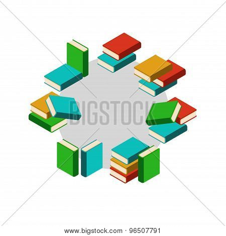 Set Of Stacks Of Colored Books In Circle