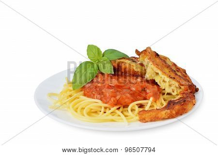 Tomato Sauce With Spaghetti And Zucchini Fritters On White Background