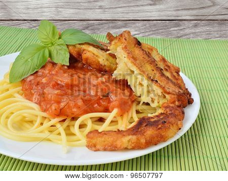 Tomato Sauce With Spaghetti And Zucchini Fritters