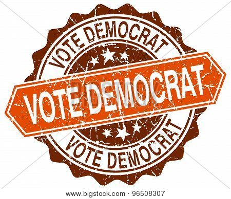 Vote Democrat Orange Round Grunge Stamp On White