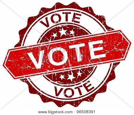 Vote Red Round Grunge Stamp On White