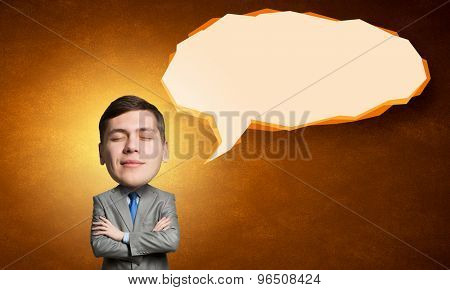 Young man with big head thinking about something