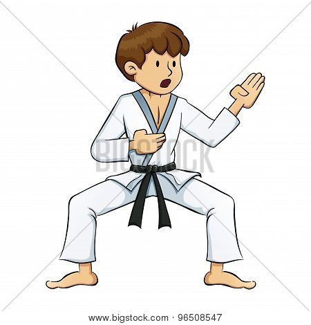 Young Boy Doing Karate Practise