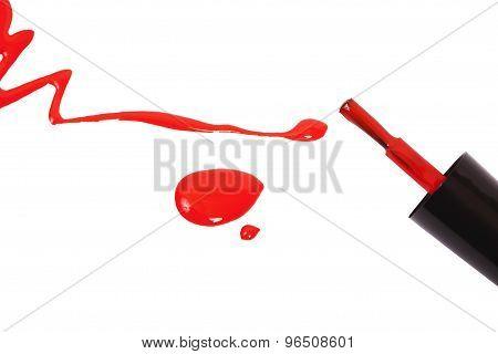 Red Nail Polish And Brush Dripping