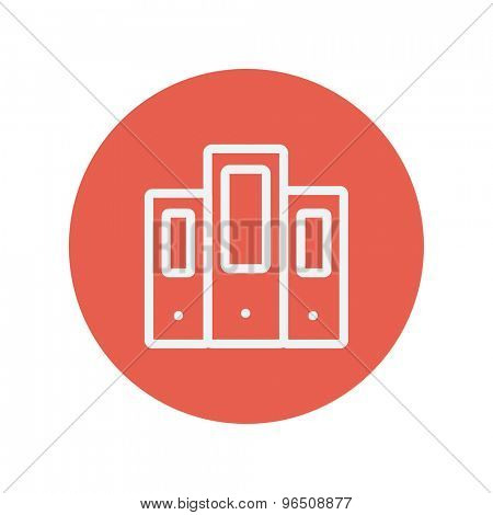 Book file thin line icon for web and mobile minimalistic flat design. Vector white icon inside the red circle.