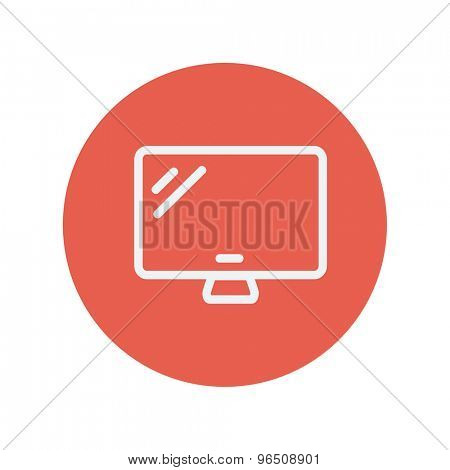 Monitor thin line icon for web and mobile minimalistic flat design. Vector white icon inside the red circle.