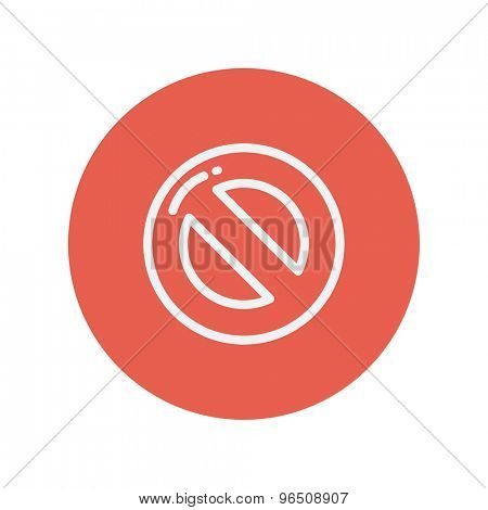 Stop thin line icon for web and mobile minimalistic flat design. Vector white icon inside the red circle.