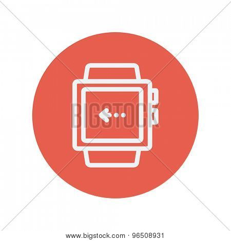 Smart watch thin line icon for web and mobile minimalistic flat design. Vector white icon inside the red circle.