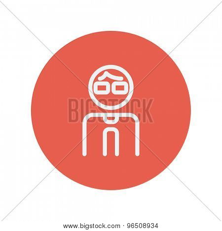 Man thin line icon for web and mobile minimalistic flat design. Vector white icon inside the red circle.