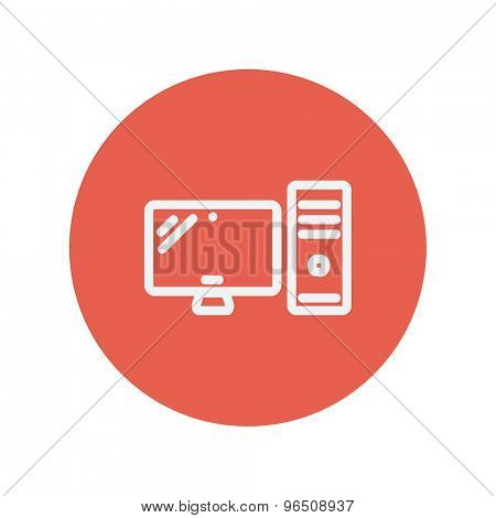 CPU and monitor thin line icon for web and mobile minimalistic flat design. Vector white icon inside the red circle.