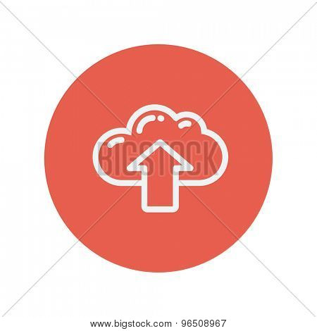 Cloud with arrow up thin line icon for web and mobile minimalistic flat design. Vector white icon inside the red circle.