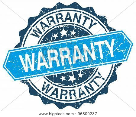 Warranty Blue Round Grunge Stamp On White