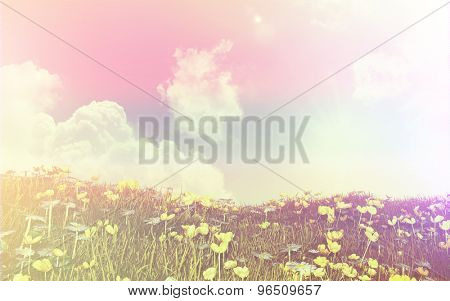 3D render of a landscape of buttercups and daisies against a sunny blue sky with retro style