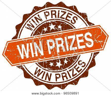 Win Prizes Orange Round Grunge Stamp On White
