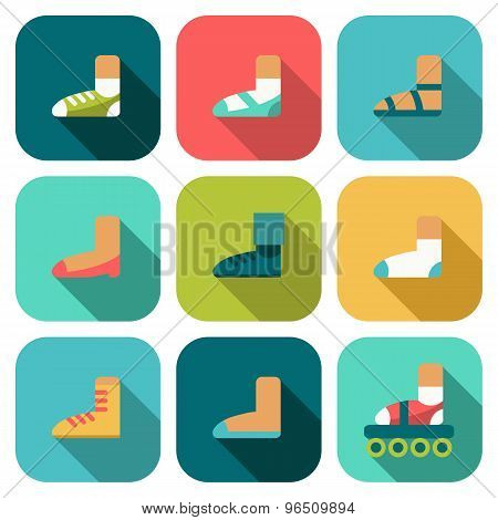 Set Of Flat Shoes Icons With Shadow