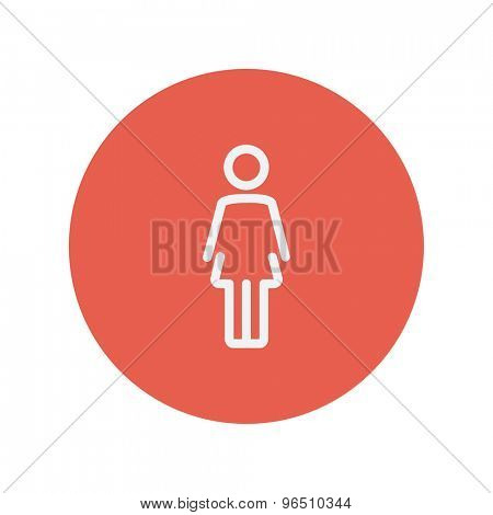 Woamn standing thin line icon for web and mobile minimalistic flat design. Vector white icon inside the red circle.