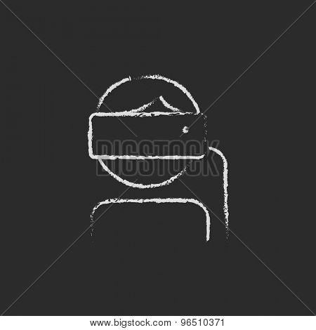 Lady is using virtual reality headset hand drawn in chalk on a blackboard vector white icon on a black background