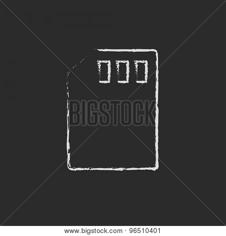 Sim card hand drawn in chalk on a blackboard vector white icon on a black background
