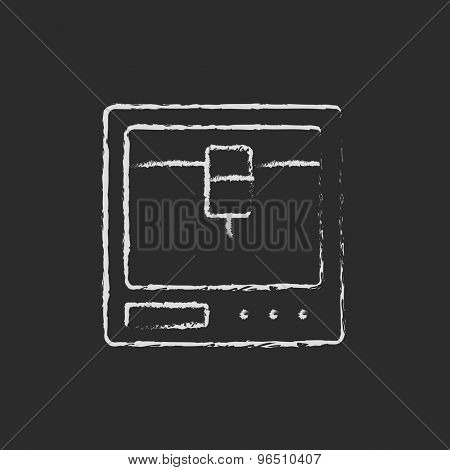 Isometric 3d printer hand drawn in chalk on a blackboard vector white icon on a black background