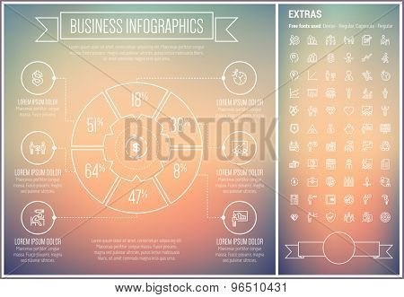 Business infographic template and elements. The template includes the following set of icons -sales, projector, roller screen, money suitcase, piggy bank and more. Modern minimalistic flat thin line