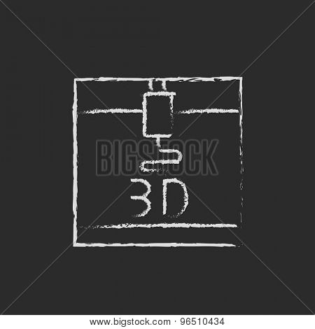3D printer hand drawn in chalk on a blackboard vector white icon on a black background