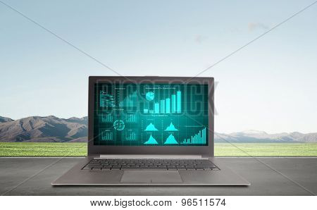 Laptop with graphs and diagrams on screen