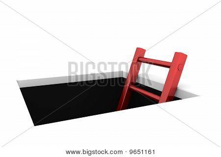 Salga del orificio - escalera roja brillante