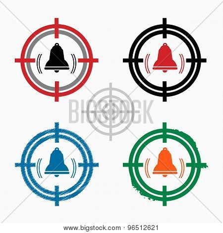 Bell Icon On Target Icons Background