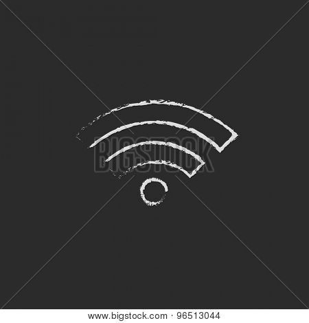 Wifi hand drawn in chalk on a blackboard vector white icon on a black background
