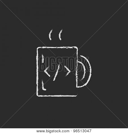 Mug with hot coffee hand drawn in chalk on a blackboard vector white icon on a black background