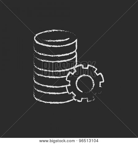 Server with gear hand drawn in chalk on a blackboard vector white icon on a black background