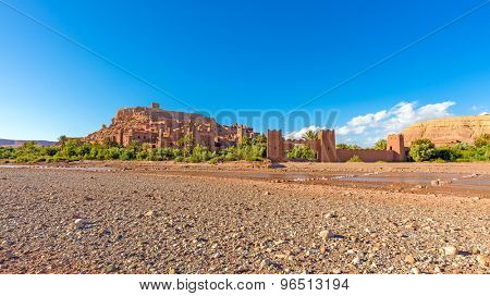 Panoramic view of the fortified town of Ait ben Haddou near Ouarzazate on the edge of the sahara desert in Morocco