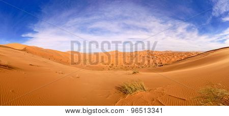 panoramic view of Erg Chebbi Dunes in Morocco-  Sahara Desert
