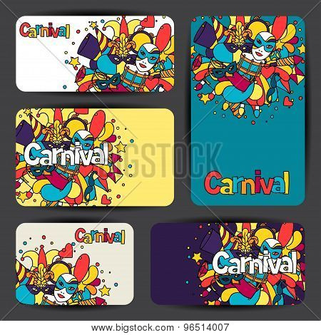 Carnival show cards with doodle icons and objects