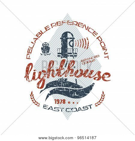 Lighthouse Emblem  For T-shirt