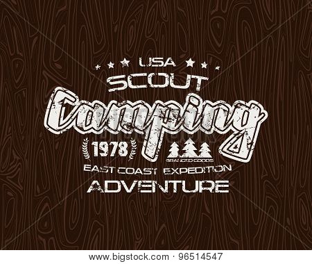 Scout Camping Emblem With Shabby Texture