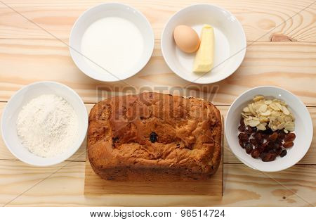 Sweet Bread  With Raisins And Almonds,flour, Butter,egg, Milk