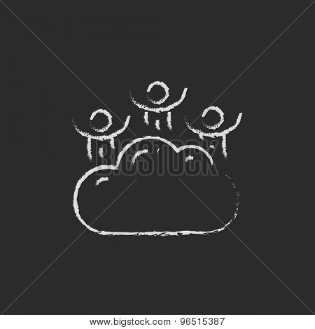 Three men on a cloud hand drawn in chalk on a blackboard vector white icon on a black background