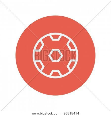 Soccer ball thin line icon for web and mobile minimalistic flat design. Vector white icon inside the red circle.