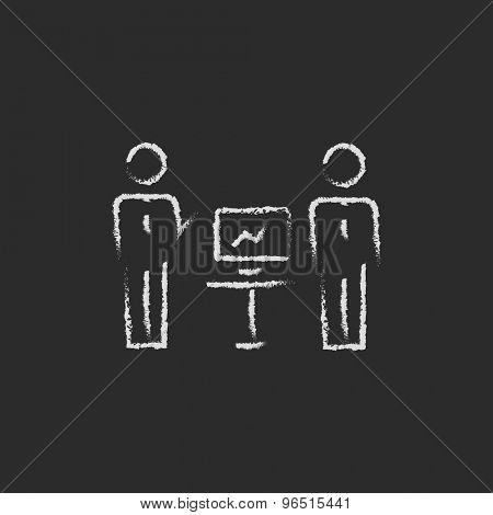 Two men and their business report hand drawn in chalk on a blackboard vector white icon on a black background