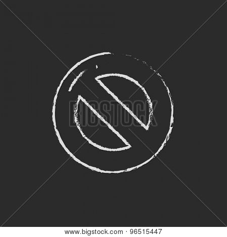 Not allowed sign hand drawn in chalk on a blackboard vector white icon on a black background