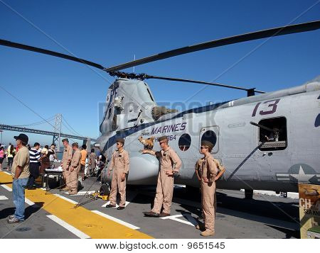 Marines Display Helicopter On The Deck Of The Uss Makin Island During Fleet Week