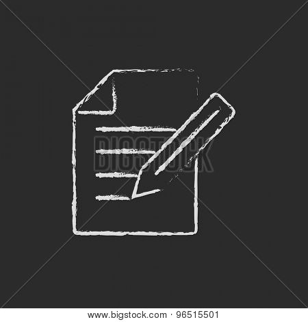Taking note hand drawn in chalk on a blackboard vector white icon on a black background
