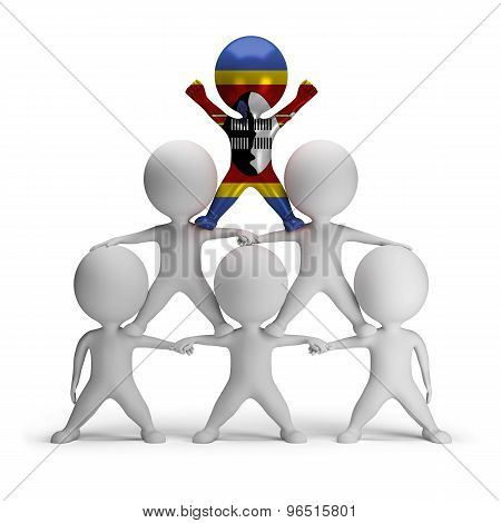3d small people standing on each other in the form of a pyramid with the top leader Swaziland