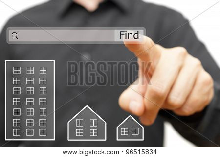 Male Is Using On Line Search To Find Proper Real Estate