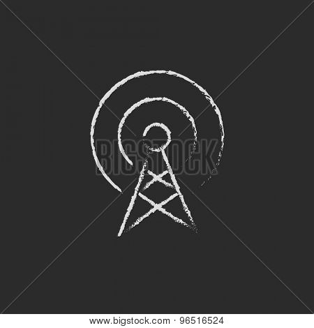 Antenna hand drawn in chalk on a blackboard vector white icon on a black background