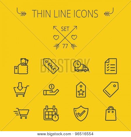 Business shopping thin line icon set for web and mobile. Set includes- sale tag, calendar with stopwatch, cash on hand, fast delivery, checklist, empty tag, shopping bag icons. Modern minimalistic