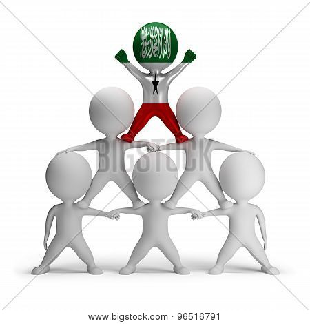 3d small people standing on each other in the form of a pyramid with the top leader Somaliland