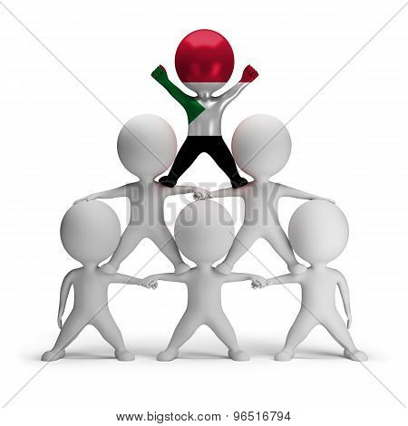 3d small people standing on each other in the form of a pyramid with the top leader Sudan